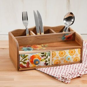 New 2 Drawer Pioneer Woman Wooden Caddy